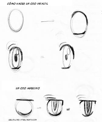 Cómo dibujar ojos de niños o agresivos